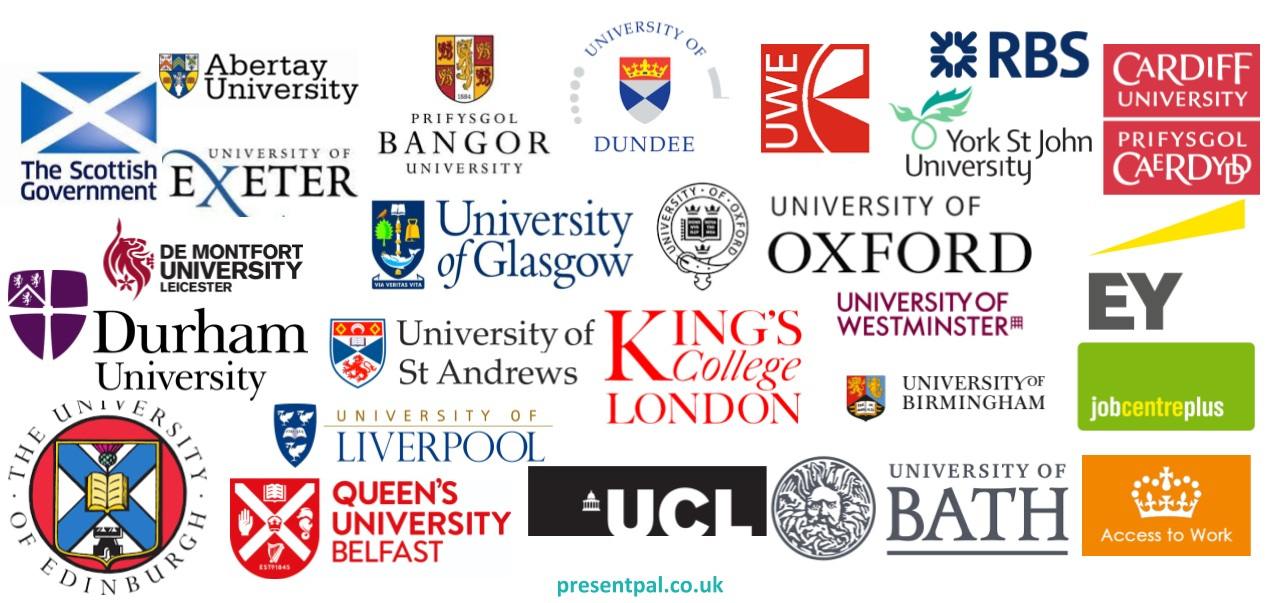 Existing Present Pal users including University of Oxford and University of St Andrews.