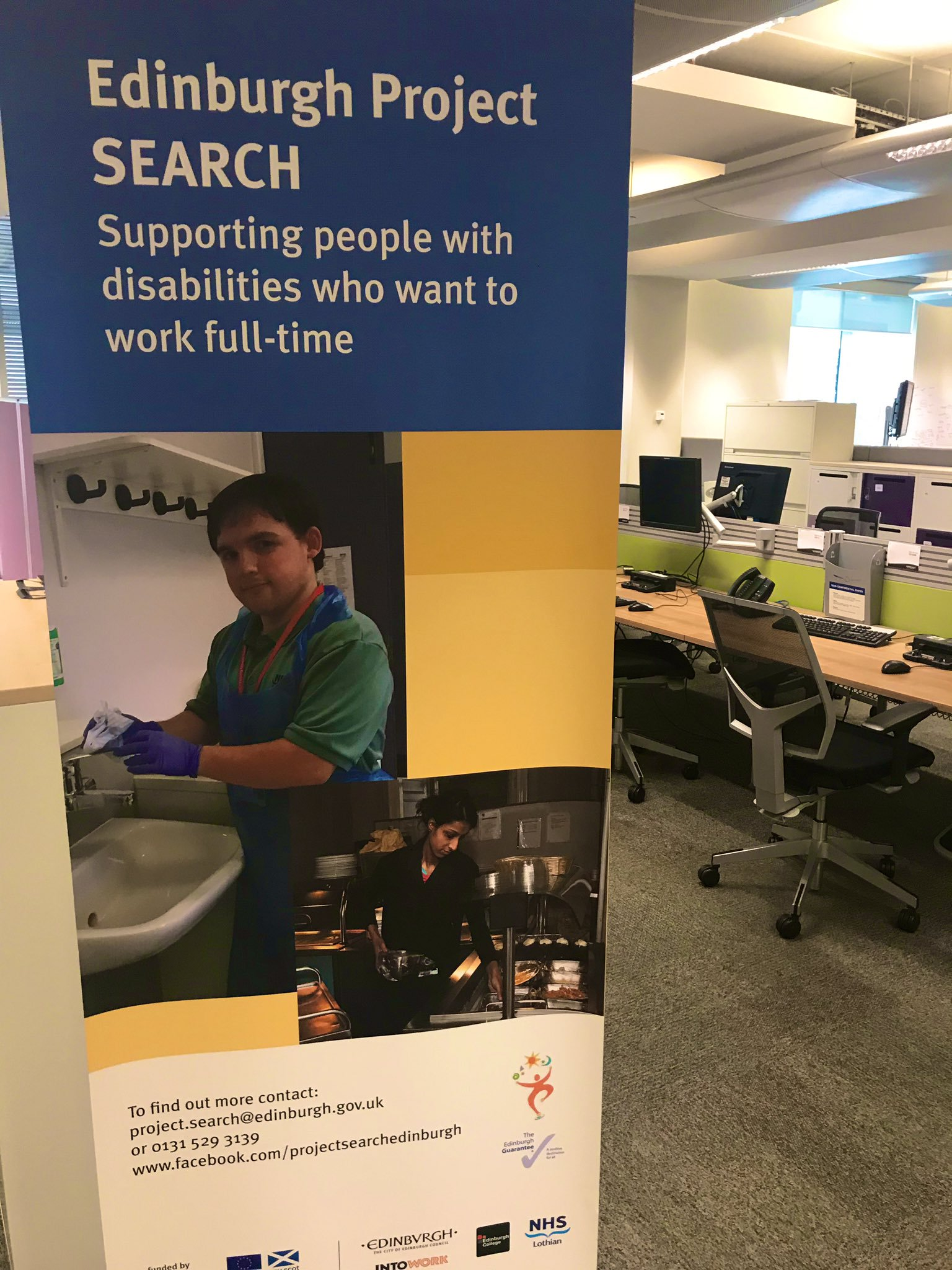 "IMAGE: Project SEARCH banner at Edinburgh's classroom. Banner reads ""Supporting people with disabilities who want to work full-time""."