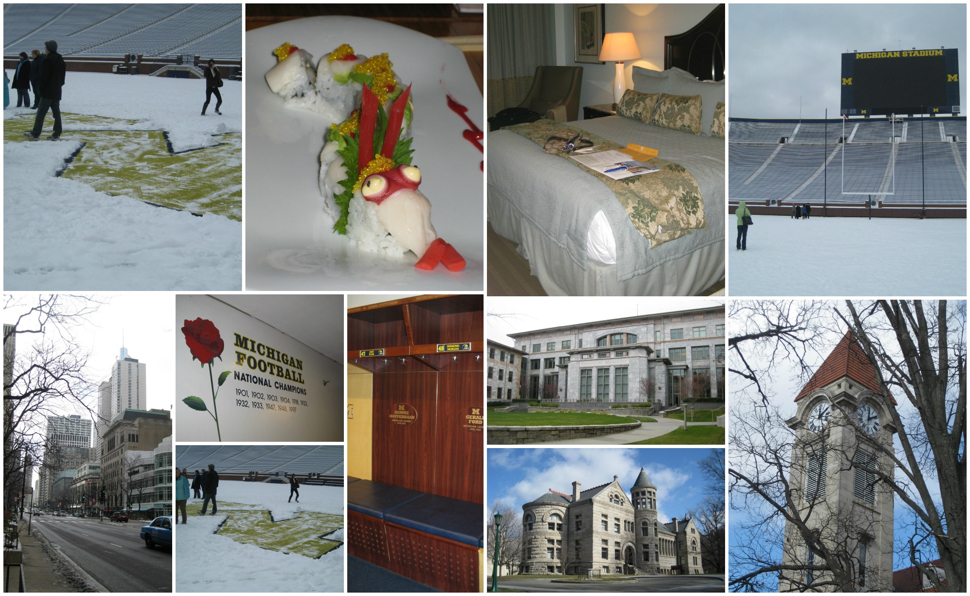 Recruitment was a BLAST! You will get to experience TONS of great activities, food, and new places! We got to tour the BIG HOUSE at Michigan in the snow - they even shoveled off the M for us! Getting to be put up in amazing hotel rooms, eating delicious foods, seeing some of the most immaculate college campuses I've every experienced (OMG - the limestone at Indiana was beautiful!)...Can't beat it!