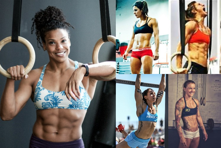 CrossFit Women: (L) Elizabeth Akinwale  (Image source ), (Top Middle) Jackie Perez ( Image source ), (Top Right) Andrea Ager ( Image source ), (Bottom Right) Christmas Abbot ( Image source ), (Bottom Middle) Miranda Oldroyd ( Image source )