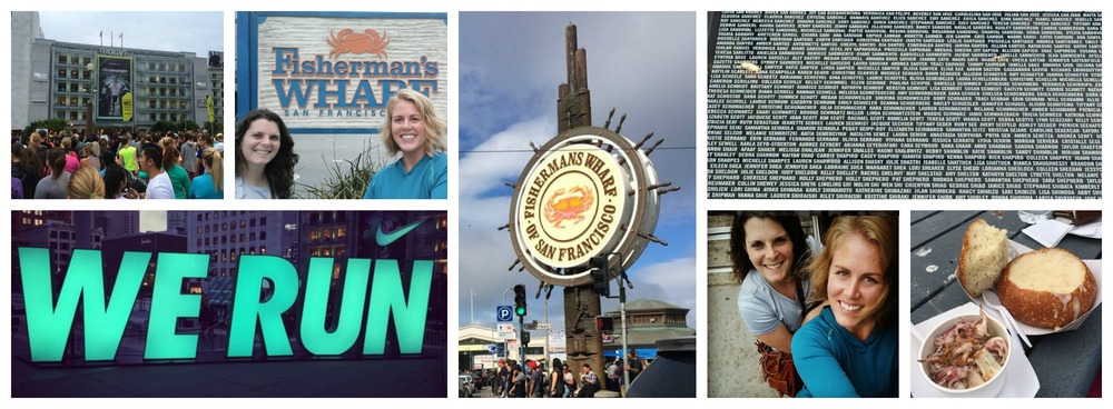 Clockwise from top left: Union Square before the Saturday Shake Out run; Anna and I at Fisherman's wharf; More Fisherman's wharf; Wall of names at the Nike store; Claw chowder bread bowl and seafood at Fisherman's wharf; Cable car riding with Anna; the Nike SF WE RUN sign lit up in Union Square
