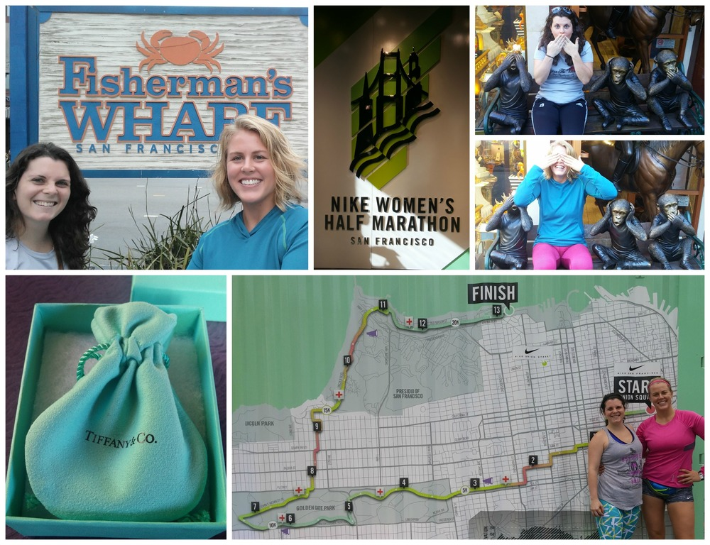 Clockwise from top left: Anna & I at Fisherman's wharf; The Nike Women's sign in the Nike store; a fun little monkey bench that we posed on; Anna & I in front of the course map before our Saturday morning shake out run; our Tiffany's & Co. finisher's necklace. I'll probably never get a Tiffany's box again, so hell ya I was lovin' it!