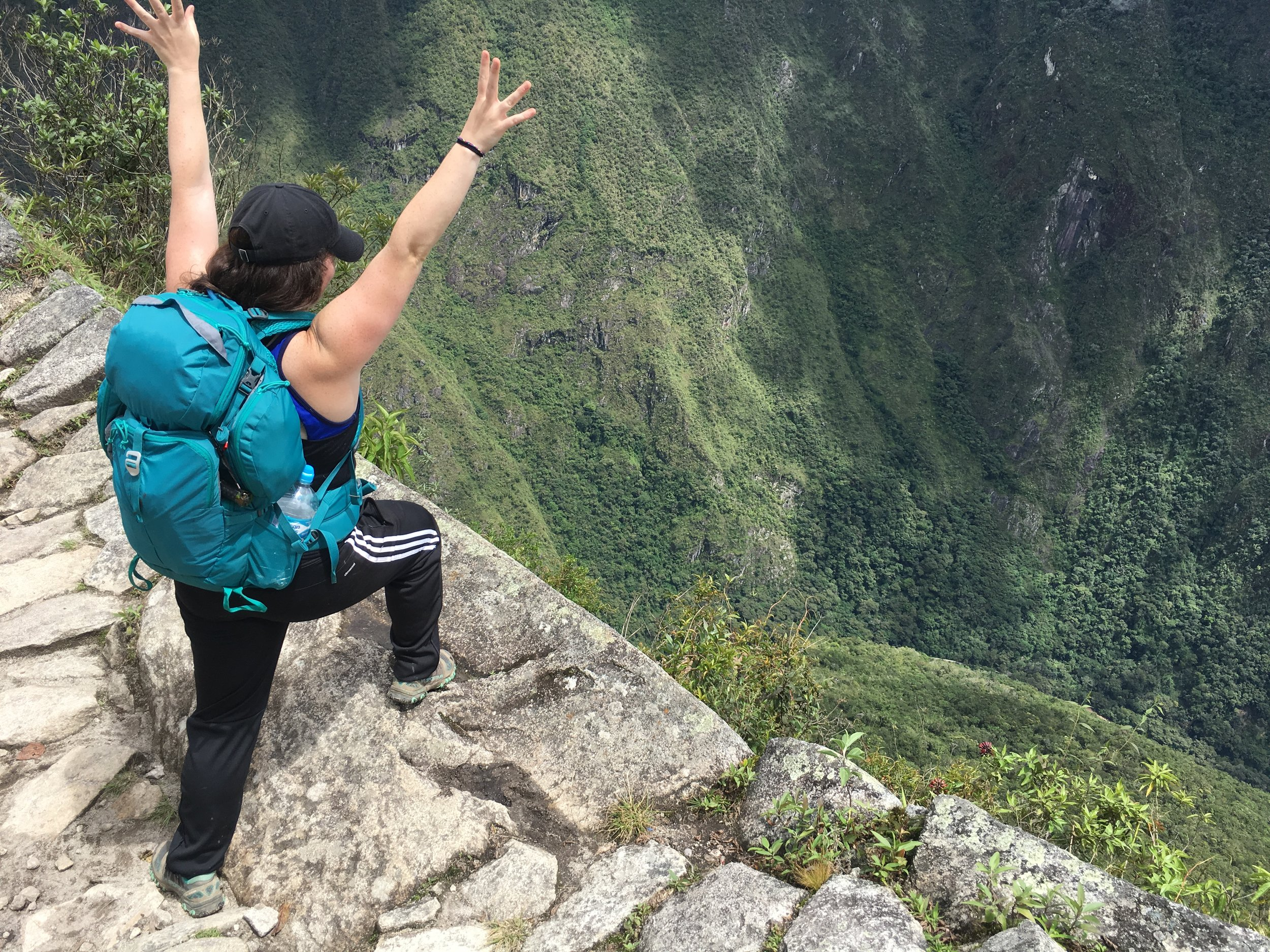 Me with my Kelty Redwing climbing Wayna Picchu after our Salkantay Trek!