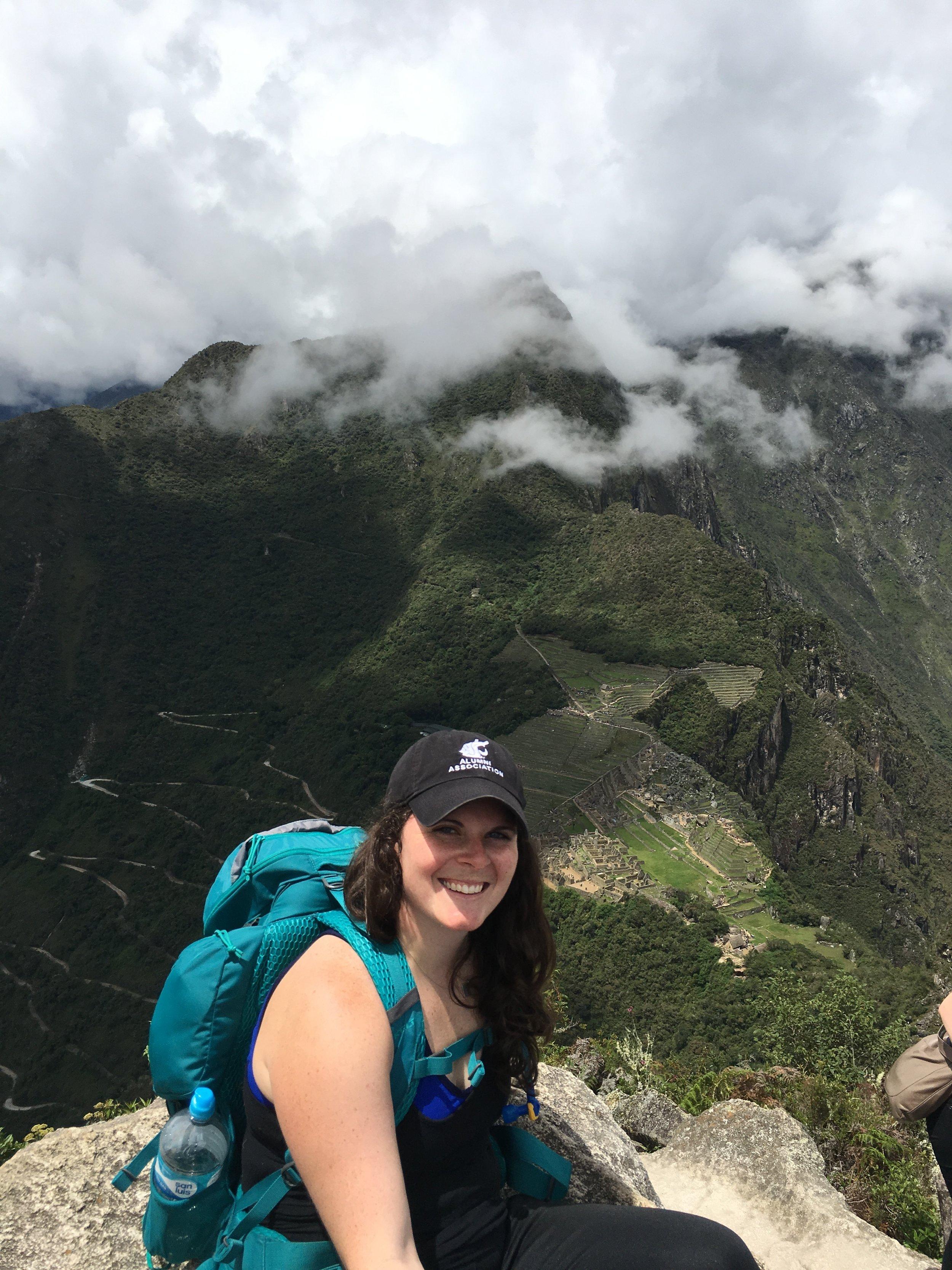 View from the top of Wayna Picchu back down toward Machu Picchu.