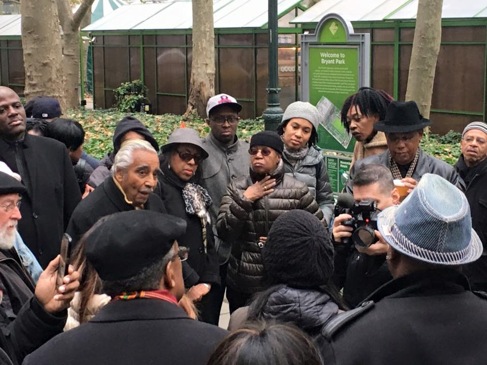 "Congressman Charles Rangel addresses the Justice Now! Coalition in Bryant Park, as participants gathered for the action known as ""Economic Shutdown 2.0"""
