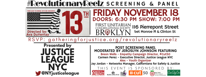 "Justice League hosted our 3rd installment of #RevolutionaryReelz on November 18th, Ava Duvernay's ""  13TH  "".  In light of recent events, there could not be a more meaningful and important film for our community."