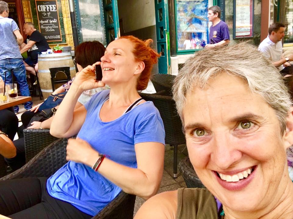 Helen and Kinga on lunch break at the local Cafe