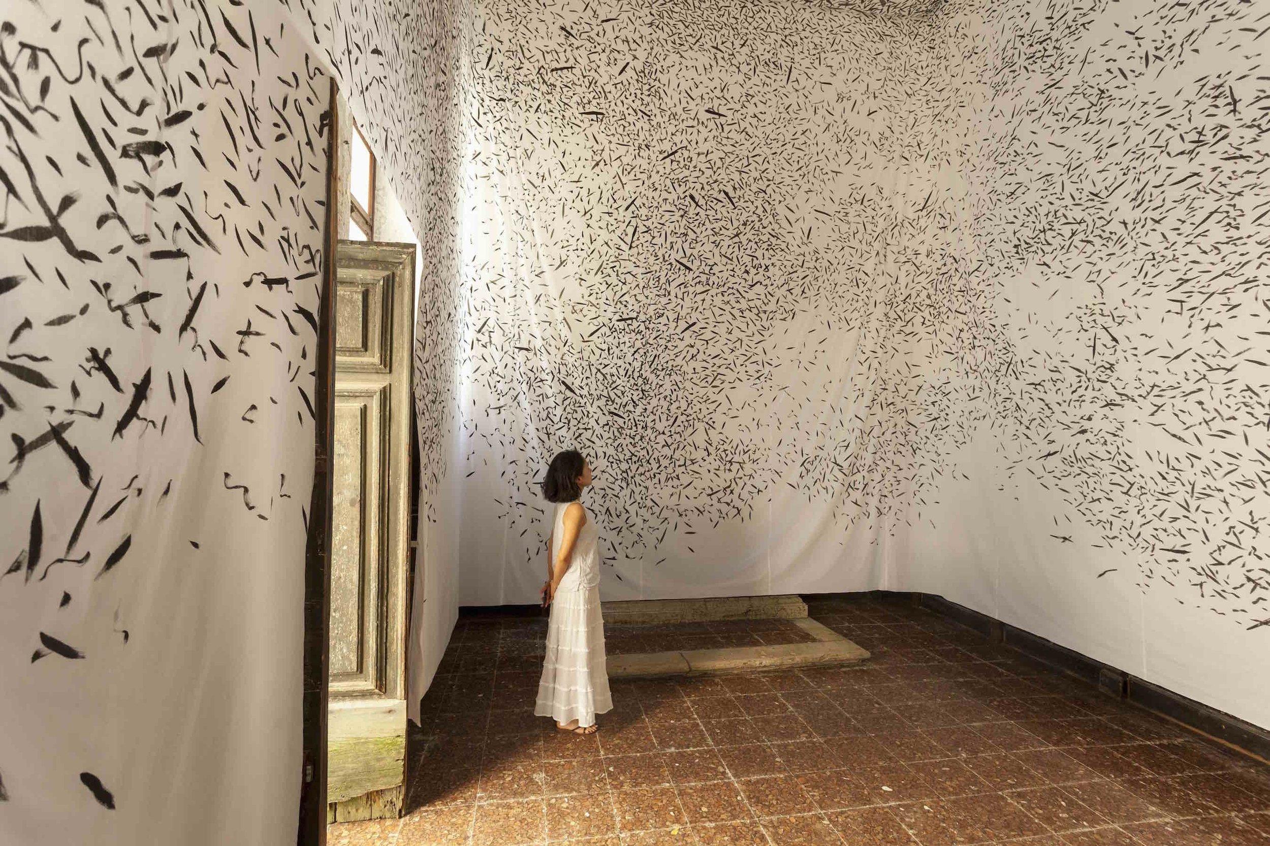 Jinny Yu, Don't They Ever Stop Migrating?, 2015, installation view, Oratorio di San Ludovico, Nuova Icona, Venice, Italy. Photo: Francesco Allegretto