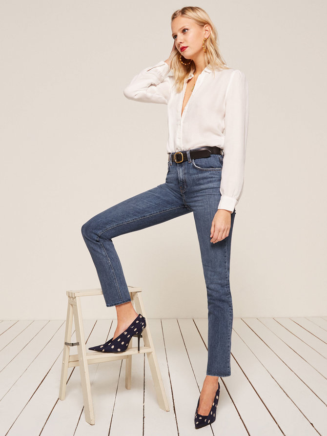 I'm high on these jeans   Liza High Straight Jean from Reformation $118