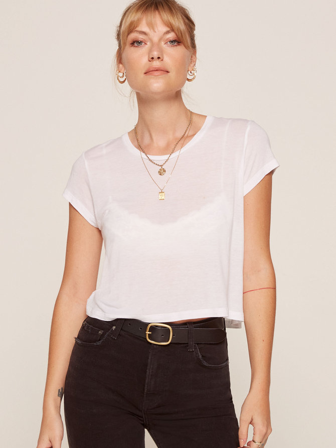 Something to wear with that biker jacket   Hanna Crop Tee from Reformation $28