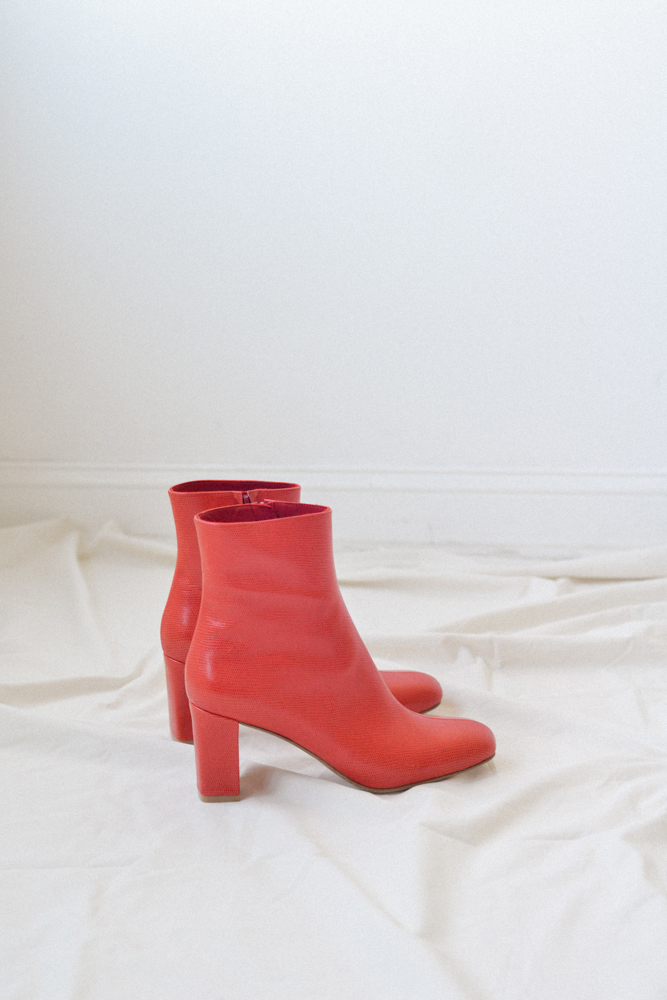 For your disco party   MNZ Agnes Boot | Red Faux Lizard $250.00