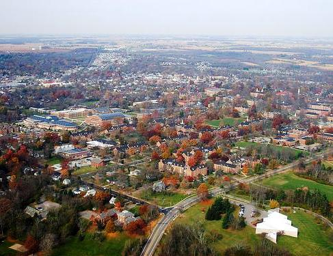 Aerial view of Oxford, Ohio