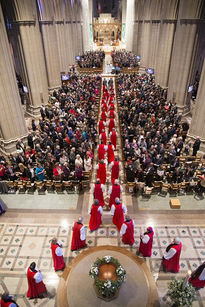 Procession of the 155 bishops of the Episcopal Church at the beginning of the Consecration Eucharist at the Cathedral of Sts. Peter and Paul--the National Cathedral--in Washington, D.C.