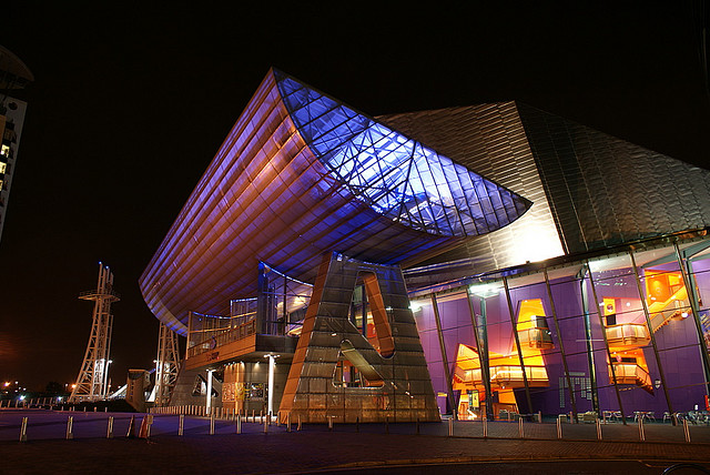 The Lowry By John - Flickr: Lowry Theatre at night., CC BY 2.0