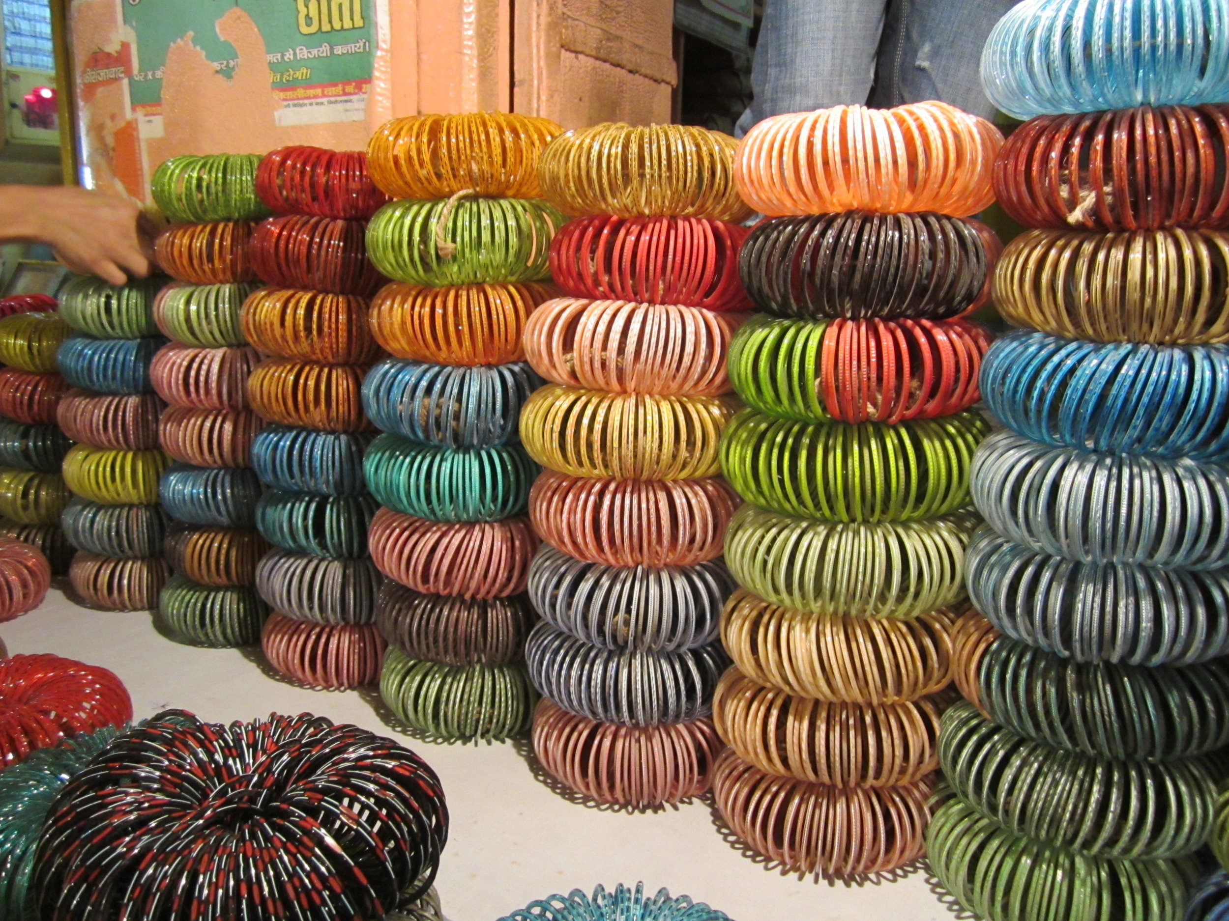 Bundles of bangles at the wholesale market in Firozabad, India, 2012. Photo: Stine Bidstrup