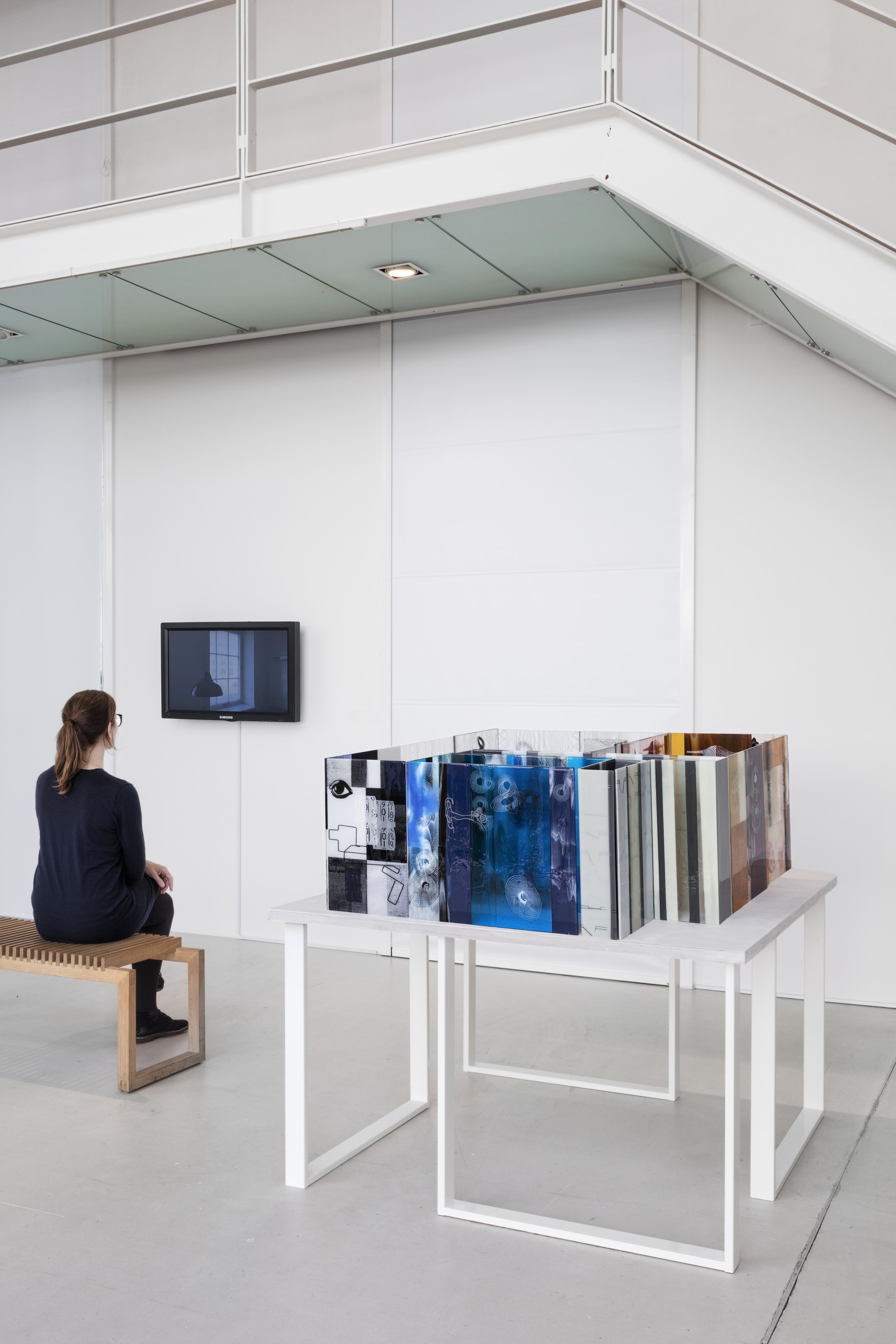 Stine Bidstrup: The Studio - Model after a Psychoanalysis of Luftkraft Glass Studio, 2016. Film (27 mins.) and large glass model of the floor plan of the premises where the collaborative glass studio Luftkraft is located in Copenhagen, Denmark.