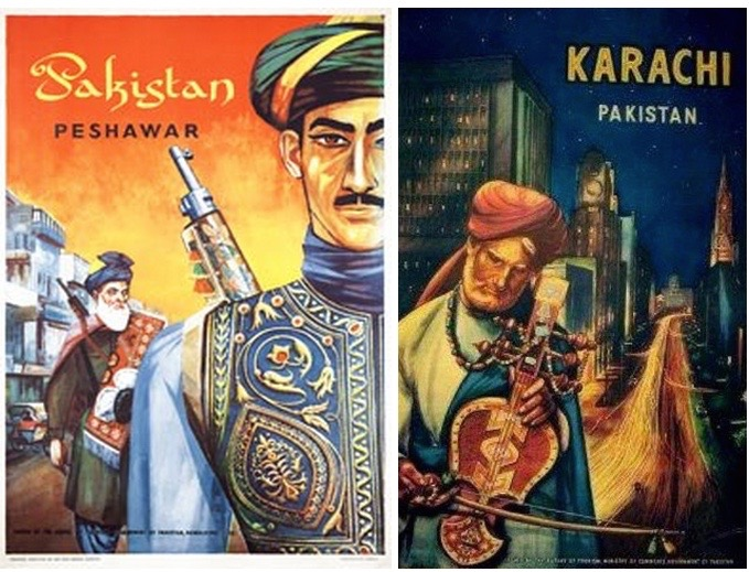 Source: 1963 Peshawar, Pakistan, Travel Posters Online   and Karachi, Pakistan, Dawn