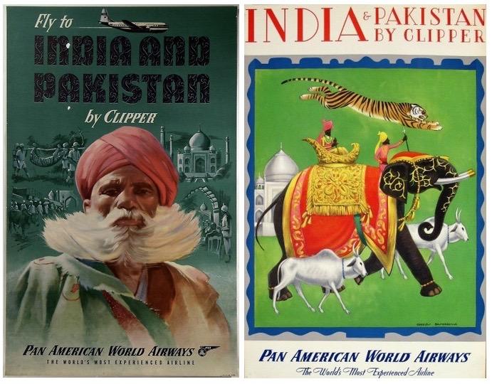 Source: 1950 Pan American World Airways Fly to India and Pakistan by Clipper and 1948 Pan Am Poster for India and Pakistan, UsmanMalik
