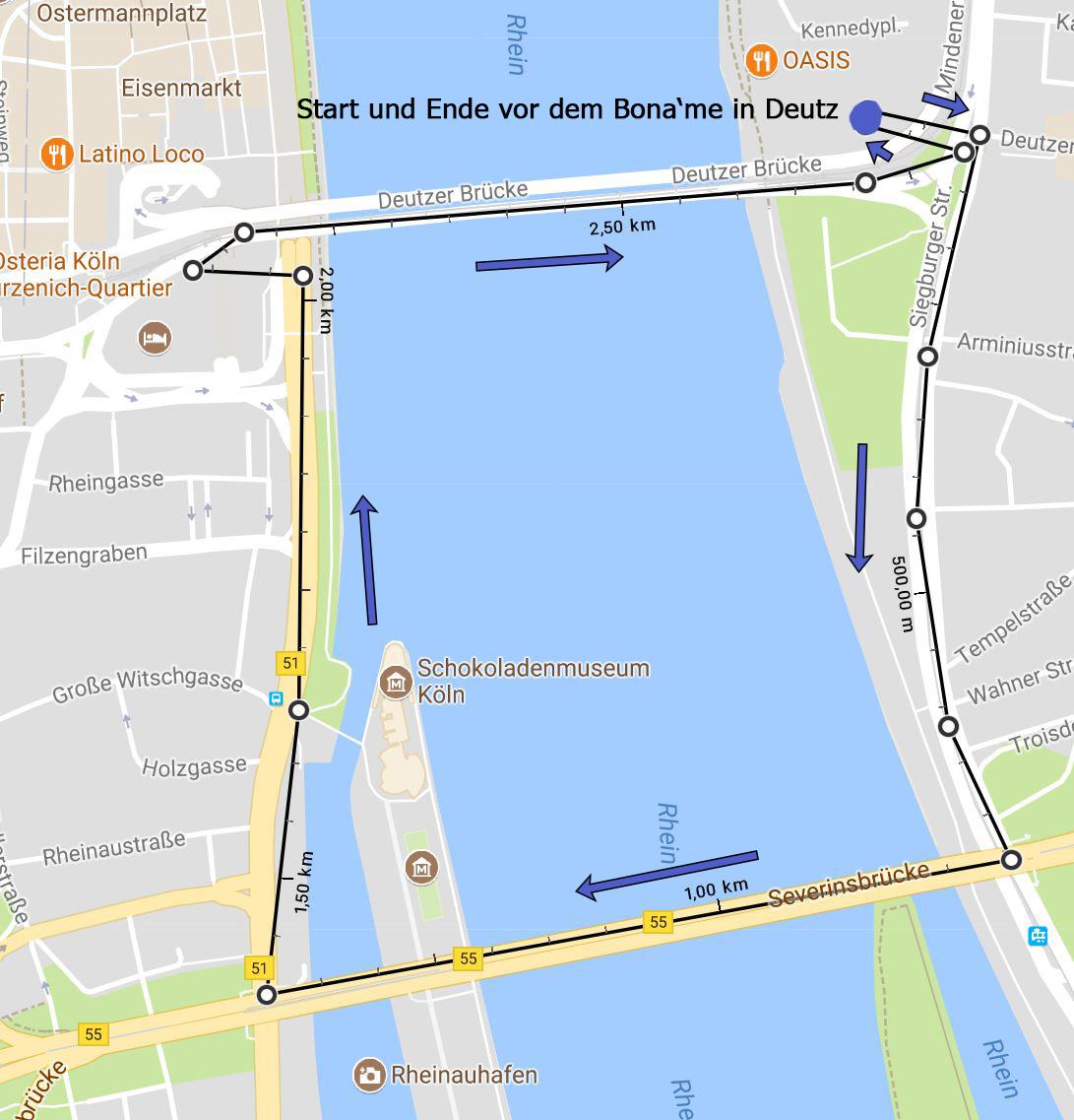 Strecke mit Richtung Photowalk Köln