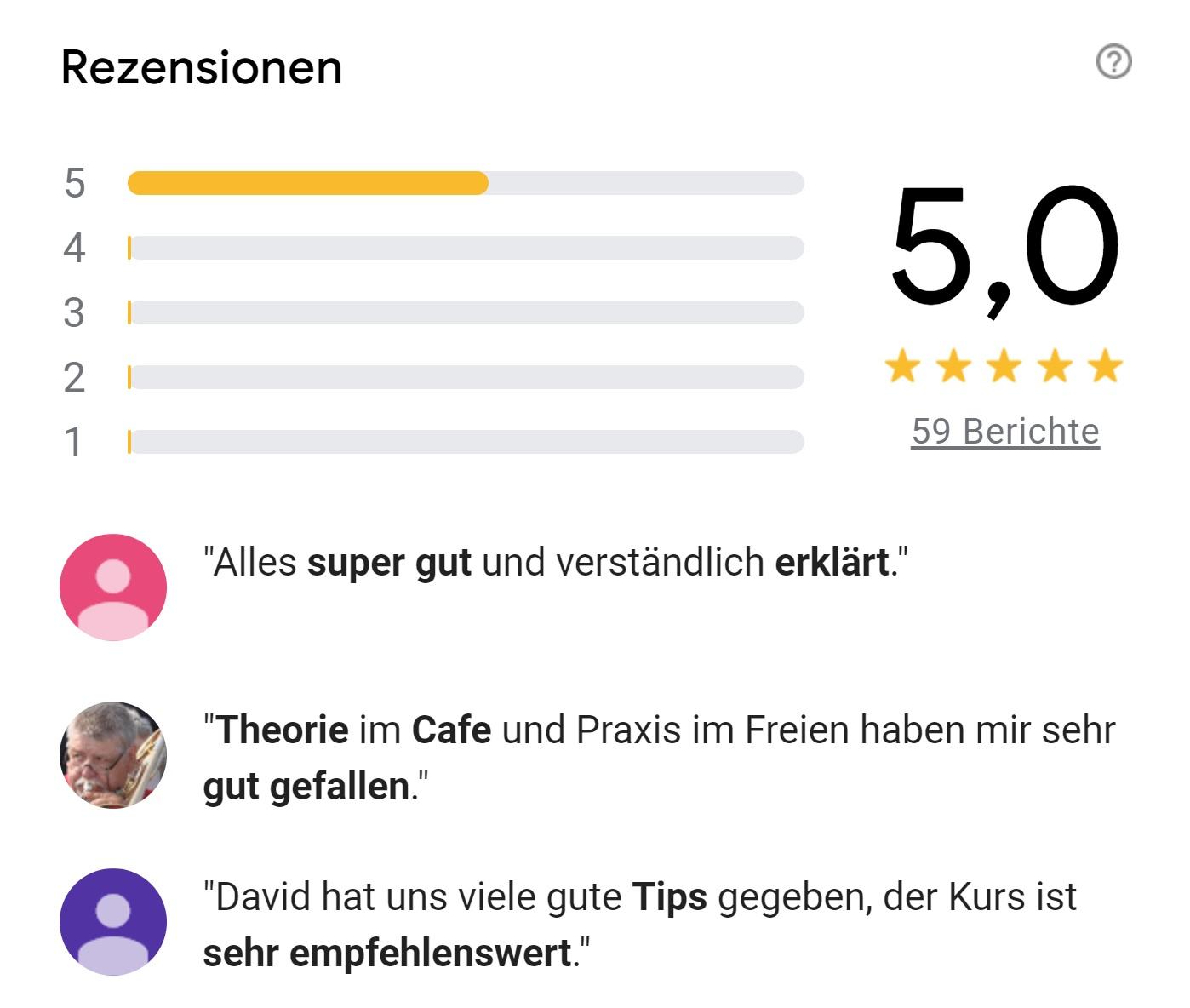 google Bewertungen Fotoworkshops Köln