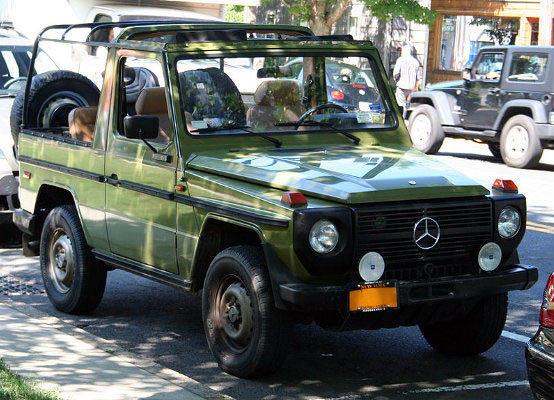 G Wagen, a Mercedes Benz classic.  Still being produced until now with almost unchanged exterior design.