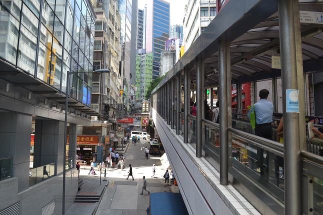 Elevated walkway in Hongkong.