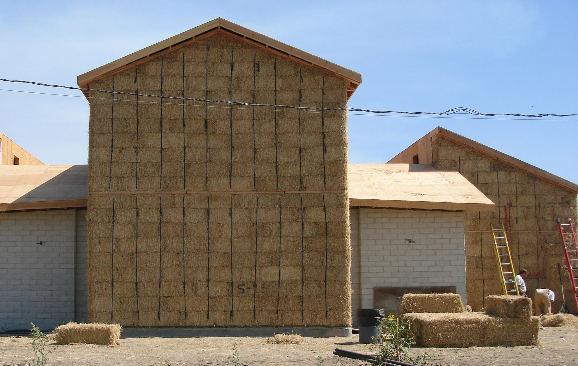 DURABLE, QUIET & FIRE-RESISTANT - Straw Bale walls are strong, durable, and highly fire-resistant. They effectively shut-out environmental noise produced by traffic, freeways and other sources, resulting in quieter spaces in which to live and work. They have an equivalent Sound Transmission Rating (STC) of >50.