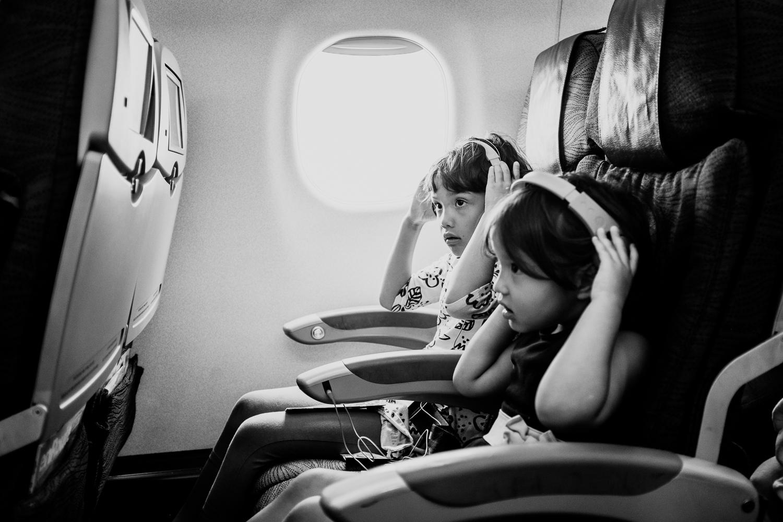kids on an airplane