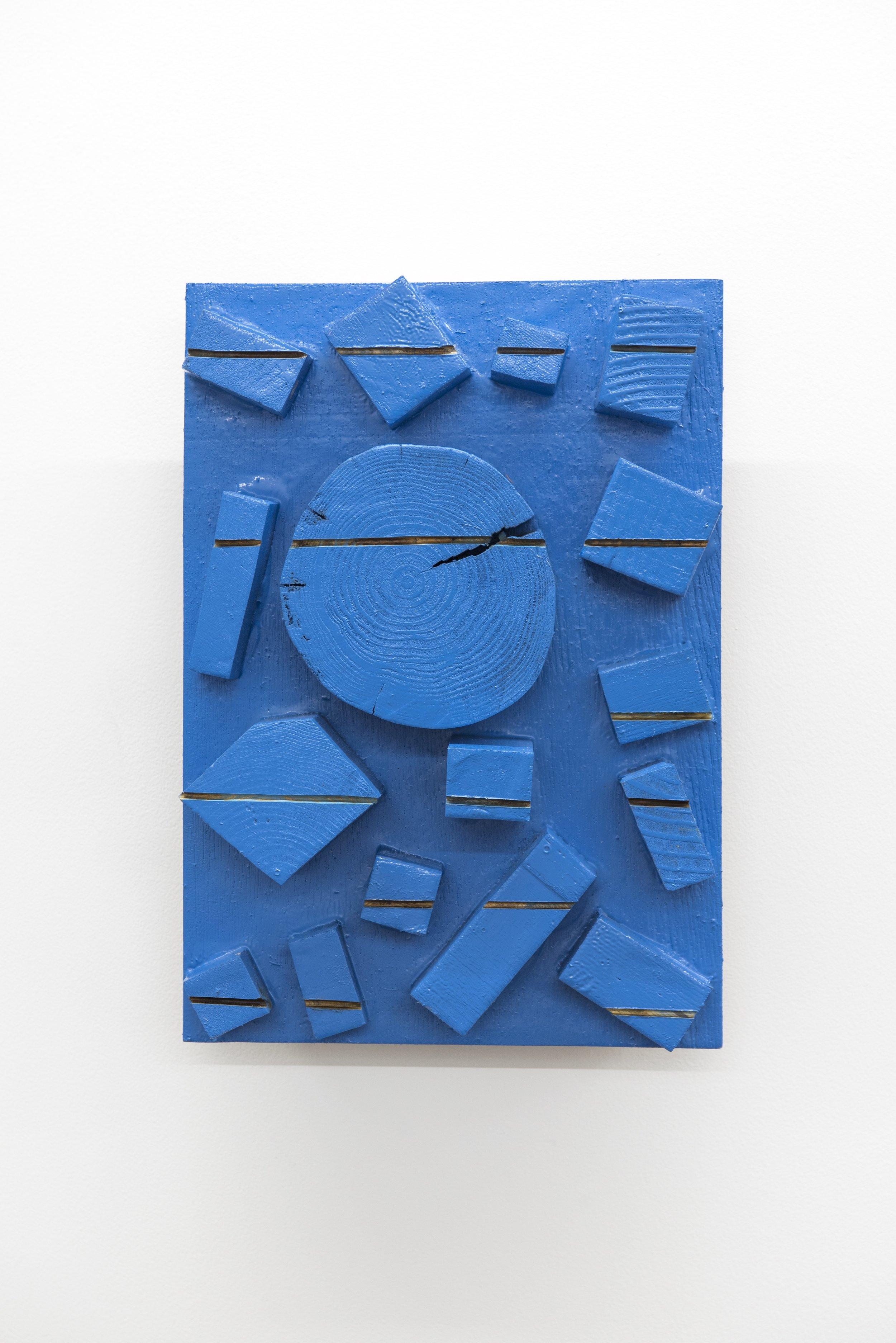 Mokuhen no Sekisen - Dokuritsu-ku    Wood, acrylic 30x21.5x9.5 cm 2000