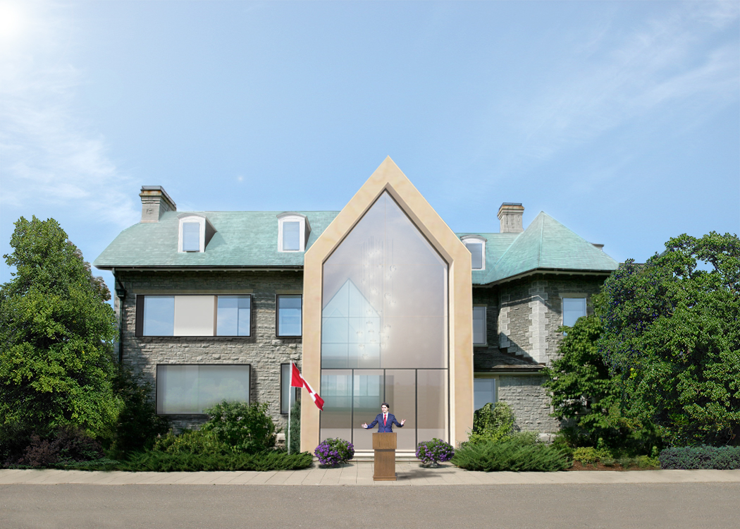 Front perspective render of 24 Sussex Drive - with Justin Trudeau.