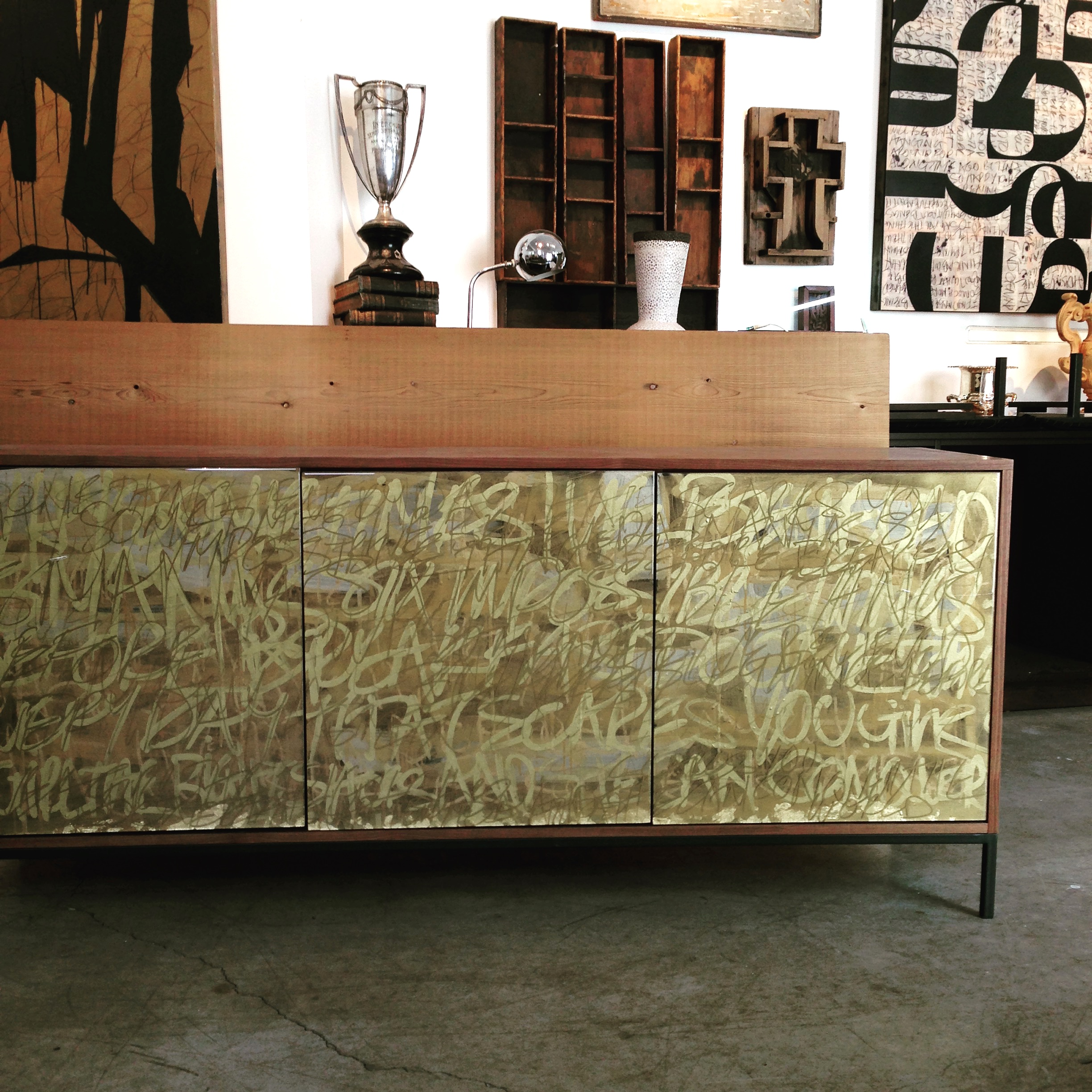 Morgan Clayhall studio, featuring Gold Graffiti Cabinet and artwork by Murray Duncan