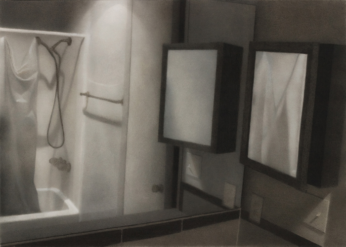"""""""Bathroom"""". Charcoal on paper, heightened with white."""