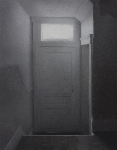 """""""Passageway."""" Charcoal on paper, heightened with white, 2016."""