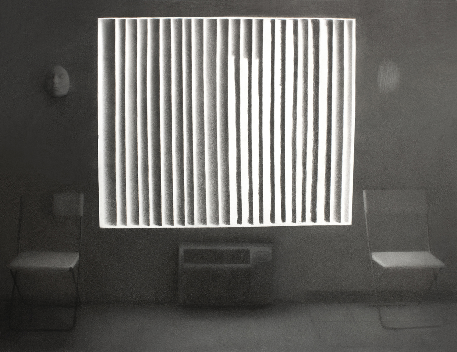 """""""Living Room."""" Charcoal on paper."""