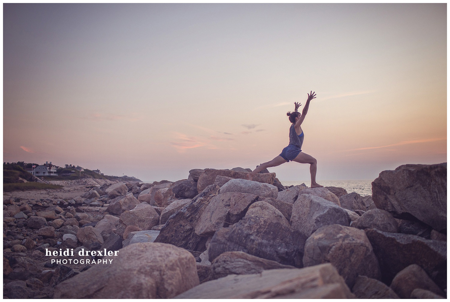 Barre 3 instructor pose on Corporation beach at sunset.