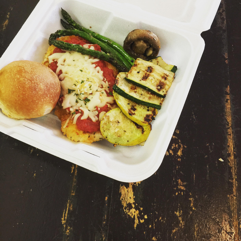 Chicken Parmesan, Grilled Vegetables, Honey Yeast Roll