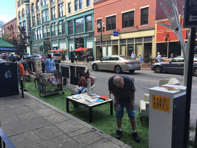 For PARK(ing) Day Lowell, DIY Lowell and the National Historical Park transformed three metered parking spaces on Merrimack Street into a pop-up park for the day.
