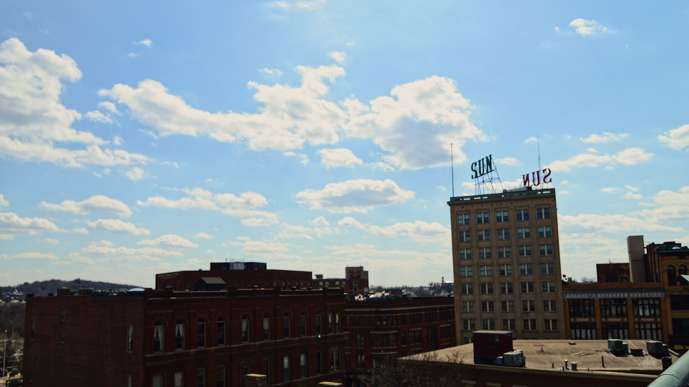 The Lowell Sun building stands tall among the downtown scene in a southeast shot from the Joseph Downes (John Street) garage.