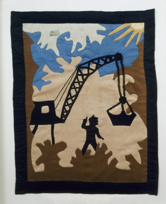 Man with Crane , designed by Ruth Clement Bond, stitched by Rosa Marie Thomas, 1934. Museum of Arts and Design, gift of Mrs. Rosa Philips Thomas in 1994