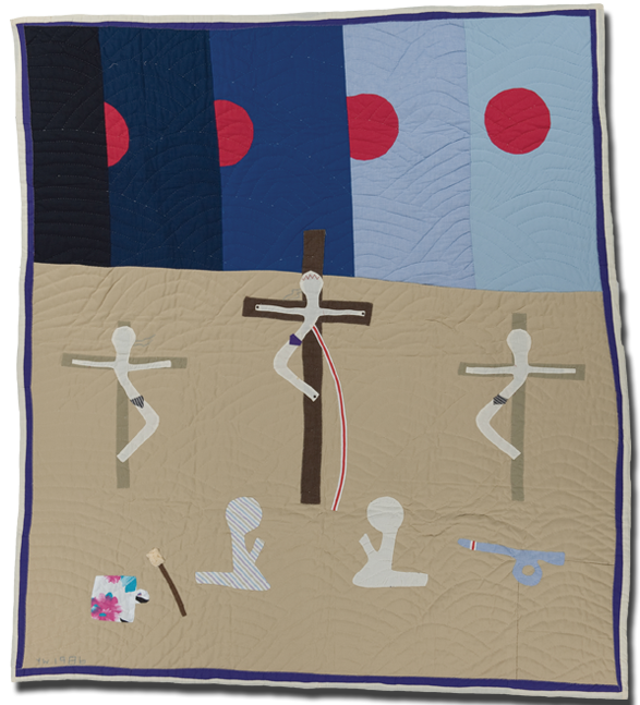 'Crucifixion,' made by Yvonne Wells, dated 1986, 76 x 68 in