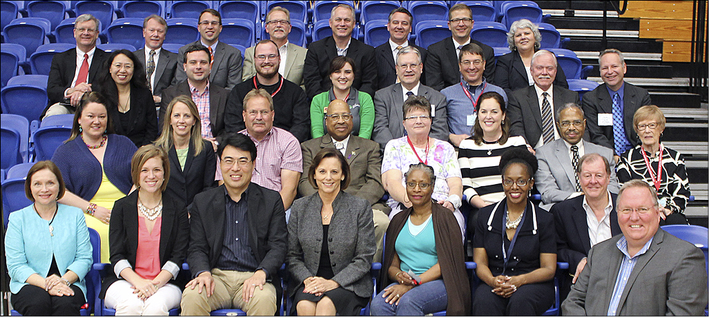 Front row:  Barbara Perry –OKC;  Aly Shahan –Moore;  Don Kim –OKC;  Linda Harker –Norman;  Debra Davis –Ardmore;  Valerie Steele –Okemah St. Paul's;  Herschel Beard –Madill; and  Bill Junk –Edmond New Cov.  Second row:  Janey Wilson –Ada;  Cara Nicklas –OKC;  Chuck Stewart –Stilwell;  Earl Mitchell –Stillwater;  Cindy Hull –Waynoka:  Jessica Seay Moffat –Ardmore First;  Joe Harris –OKC; and  Ahnawake Dawson –Claremore.  Third row:  Fuxia Wang –OU Chinese Fellowship, Norman;  Aaron Tiger –Tulsa First;  Reece Player –Altus;  Sarah Nichols –OKC;  Brian Bakeman –Oklahoma's treasurer;  Kent Fulton –Edmond New Cov;  Bob Long  OKC-St. Luke's; and  Sam Powers –Edmond First.  Top row:  Wade Paschal –Tulsa First;  Tom Harrison –Tulsa Asbury;  Jeff Jaynes –Restore Hope Ministries, Tulsa;  Ray Crawford –Claremore First;  D.A. Bennett –OKC-St. Andrew's;  Lesly Broadbent –Enid Willow View;  Matt Judkins –McAlester First; and  Tish Malloy –Northern Prairie District superintendent.  Not shown:  Tom Junk –Tulsa and  Briana Tobey –OKC.