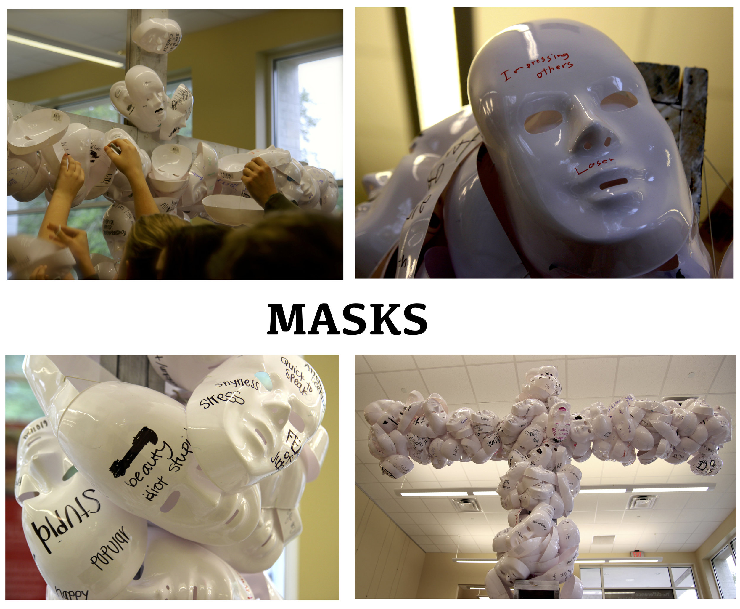 Through a short film participants are introduced to the concepts of school cliques and the masks that teens wear to hide their true identities. Students are then encouraged to write down on their own masks, the labels with which they identify themselves-not only what they hide behind but labels they cast on others. In conclusion, participants are invited to leave their masks on the cross of Christ.