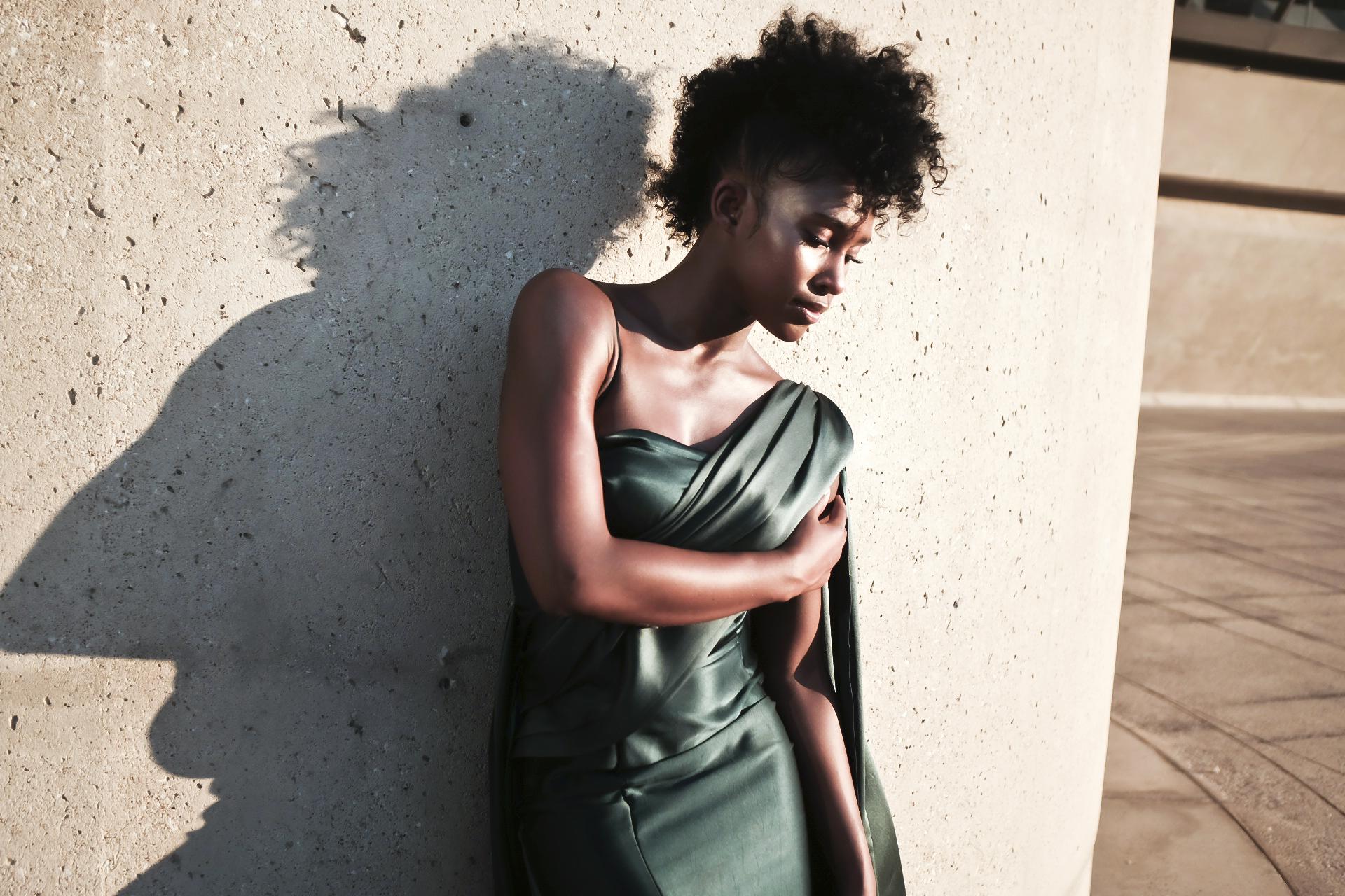 Cleo Silk Gown in Emerald
