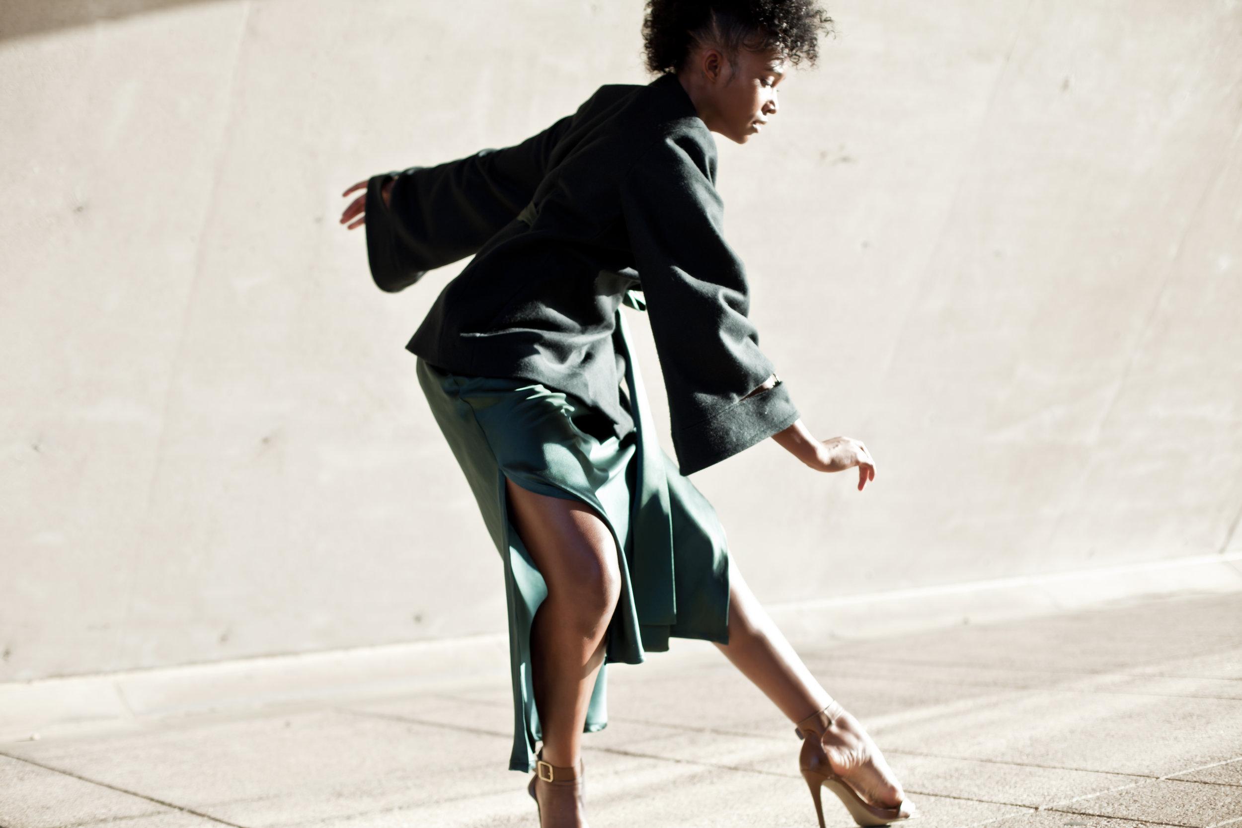 Frida Wrap Jacket in Deep Emerald & Emma Silk Bias Skirt in Emerald