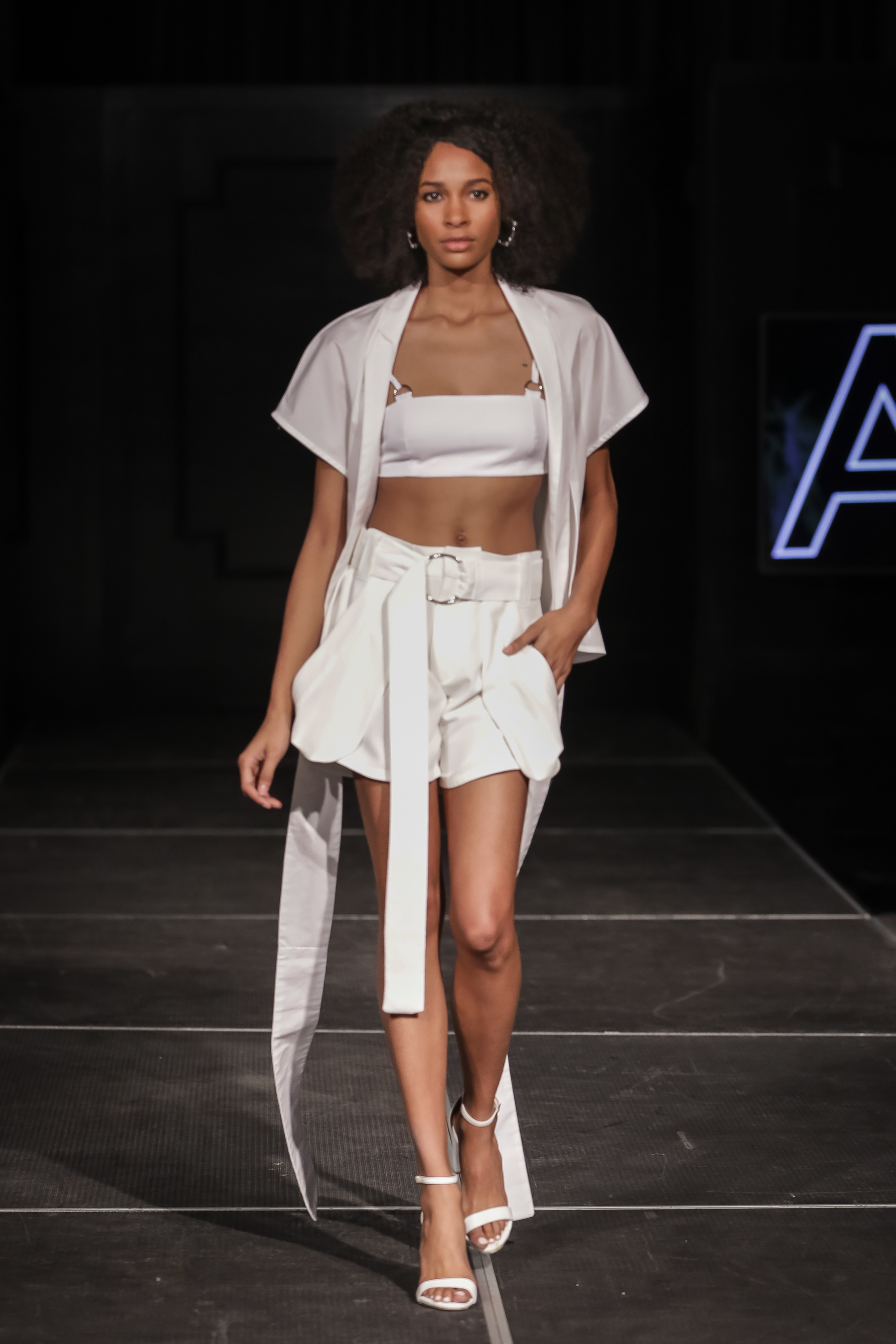 FERRAH SS18 Look 2 - i : Kyoto Wrap Blouseii :  Nara Bralette Topiii :  Tomoe Draped Shorts