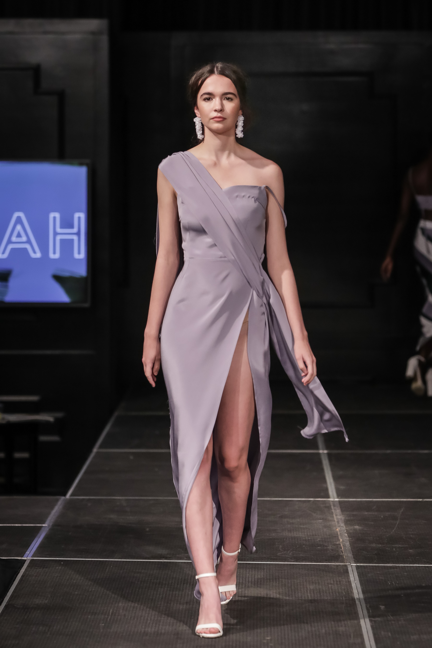 FERRAH SS 18 Look 9 - i :  Cleo Silk Crepe Draped Gown  in Lavender