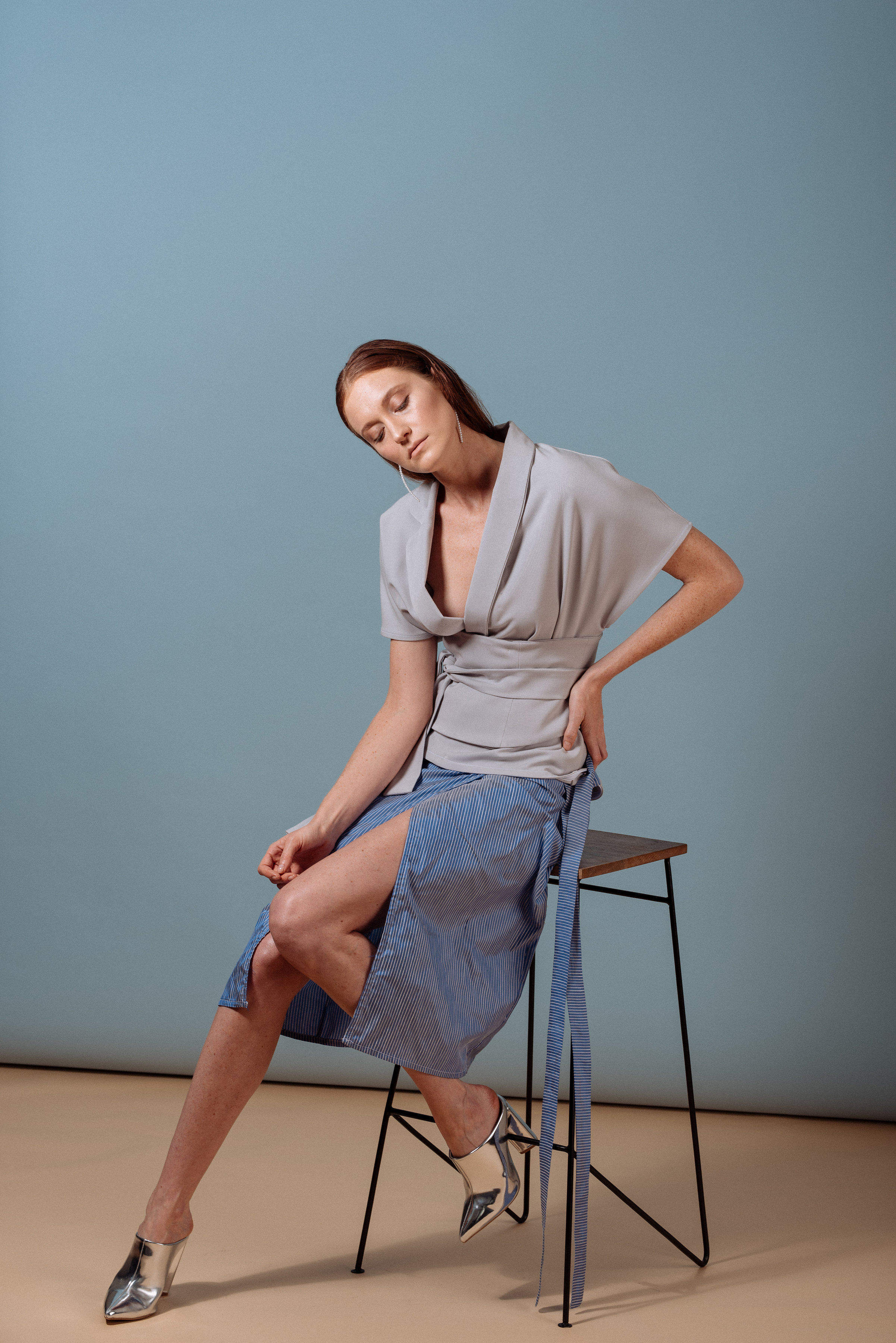 Look 5: #416 Flora Short Sleeve Wrap w/Corset in Frost, #407 Agra Wrap Skirt in Ultraviolet