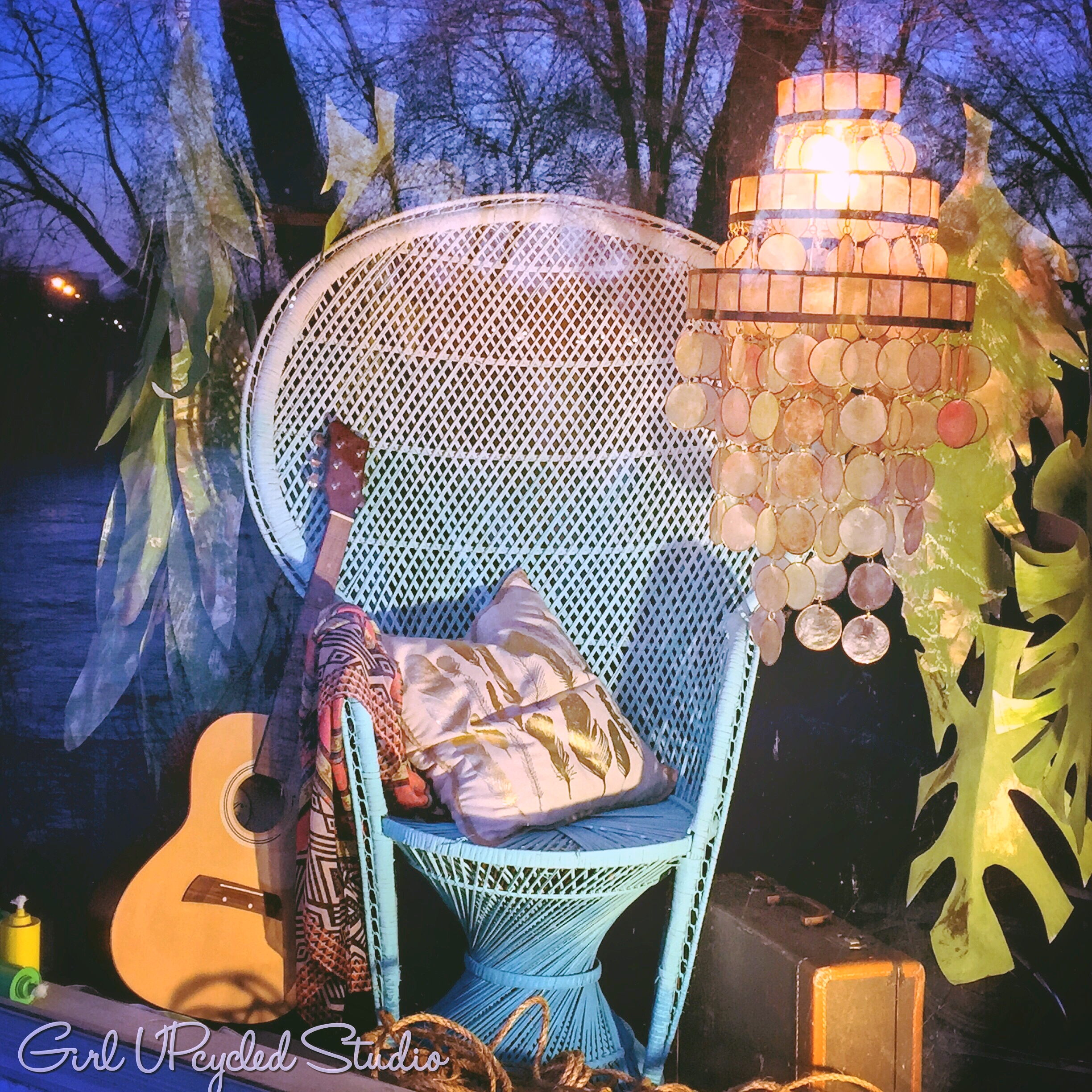 ombre bohemian chair handpainted