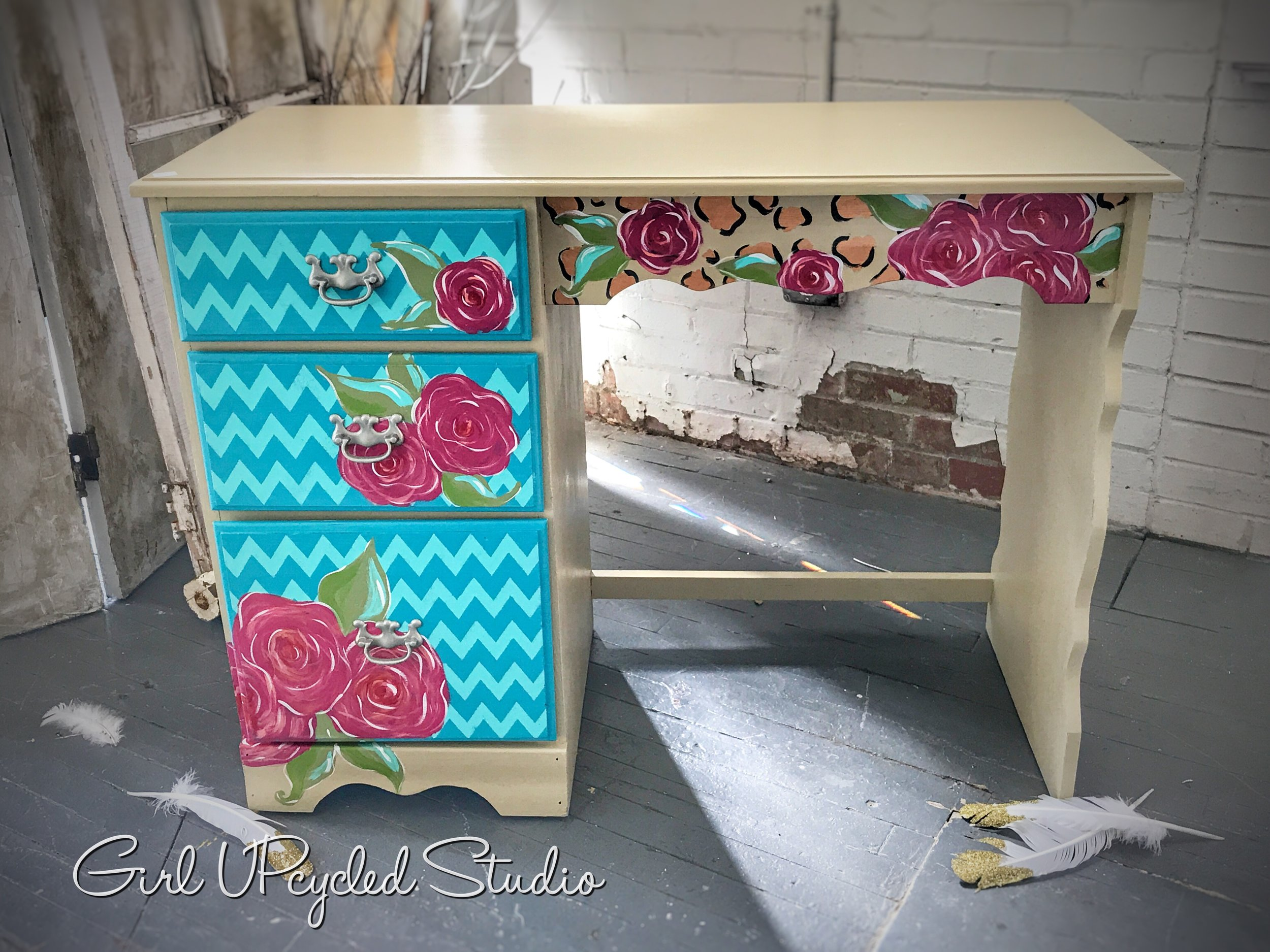 hand painted desk vanity with whimsical touch