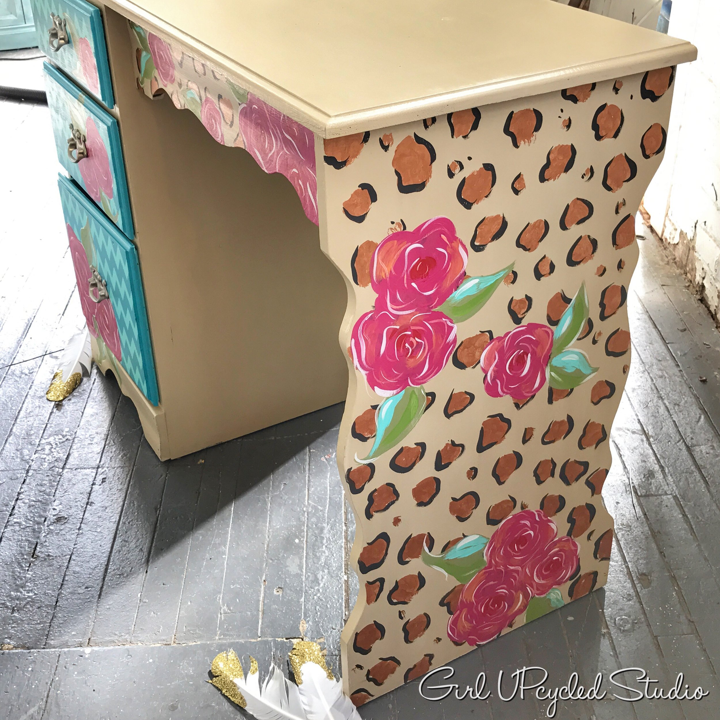 hand painted desk or vanity with a touch of whimsy